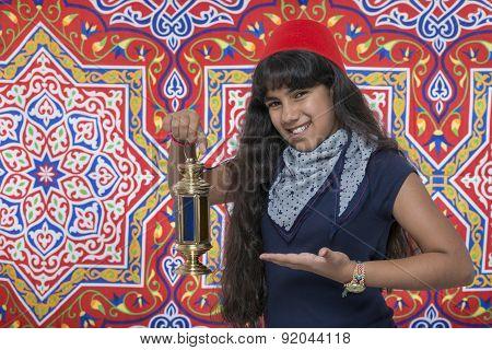 Happy Smiling Girl With Lantern Celebrating Ramadan
