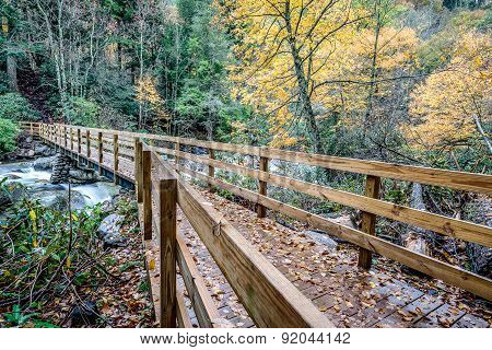 Bridge to Chimney Tops Trail in the Great Smoky Mountains