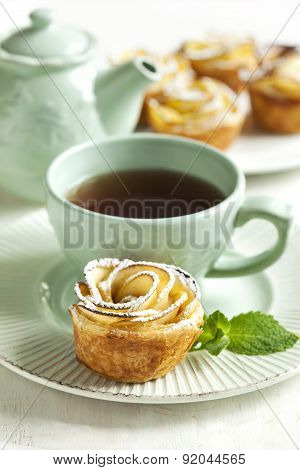Apple Roses. Cakes Apple Roses Made From Puff Pastry With Apple And Cinnamon.