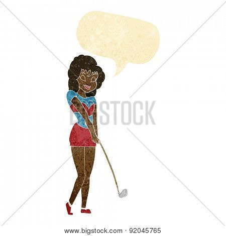 cartoon woman playing golf
