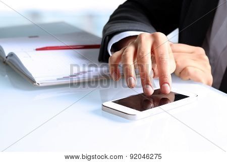 Businesswoman  Using The Mobile Smart Phone