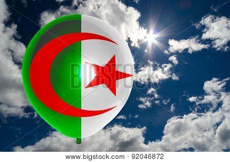 Balloon With Flag Of Algeria On Sky