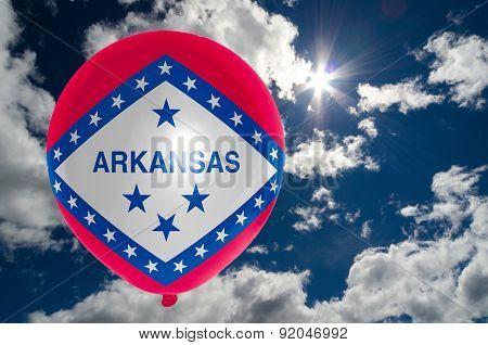 Balloon With Flag Of Arkansas On Sky