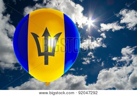 Balloon With Flag Of Barbados On Sky