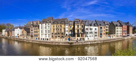 Panoramic view of Namur,  from the river Meuse.Belgium