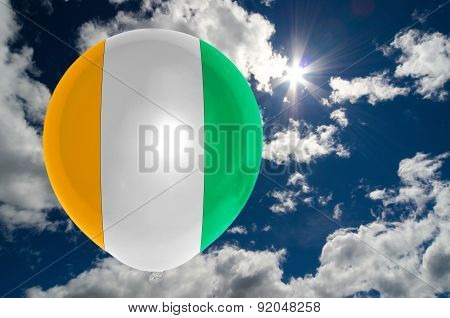 Balloon With Flag Of Ivory Coast On Sky