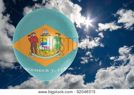 Balloon With Flag Of Delaware On Sky