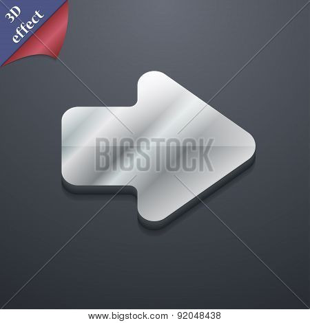 Arrow Right, Next Icon Symbol. 3D Style. Trendy, Modern Design With Space For Your Text Vector