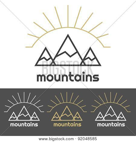 Mountains camp logo with sunrise behind the hills. Gold and white set of icons.