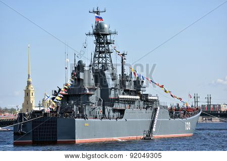 ST. PETERSBURG, RUSSIA - MAY 9, 2015: Large landing craft Korolev during the naval parade dedicated to the Victory Day. It is the first naval parade included in the city's Victory Day celebrations
