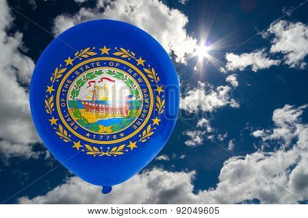 Balloon With Flag Of New Hampshire On Sky