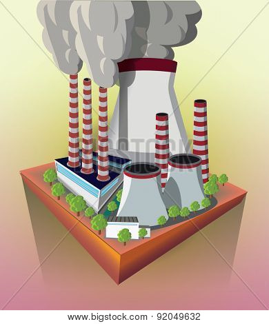 Nuclear power plant on the flying island vector image.