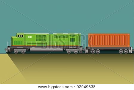 Train with wagon on rail road. Flat vector illustration.