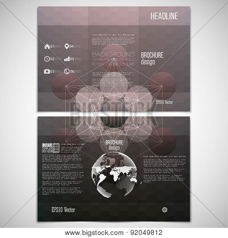 Vector set of tri-fold brochure design template on both sides with world globe element. Abstract pat