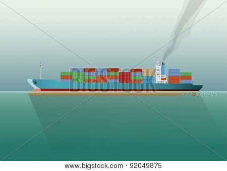 Container ship in the sea. Flat style vector Illustration.