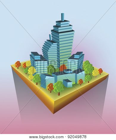 City Buildings on flying island. Vector illustration.