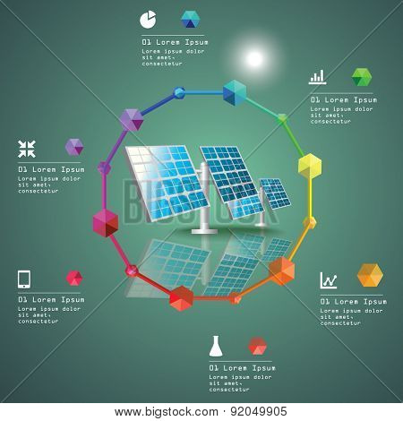 Solar power plant vector image. Green industry infographic