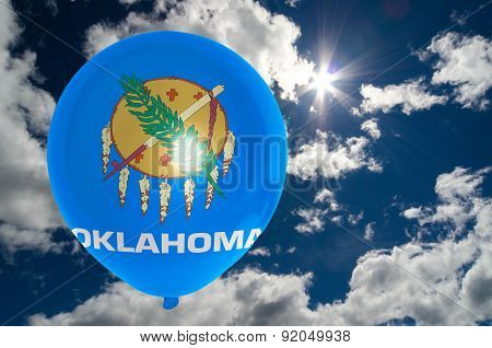 Balloon With Flag Of Oklahoma On Sky
