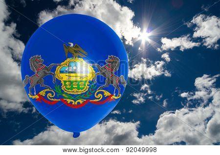 Balloon With Flag Of Pennsylvania On Sky