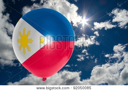 Balloon With Flag Of Philippines On Sky