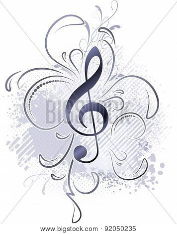 Abstract Musical Background In Grunge Style With A Treble Clef And Decorative Twigs.