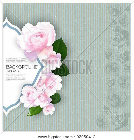 Marriage invitation card with place for text and pink flowers over linear blue background, canvas te