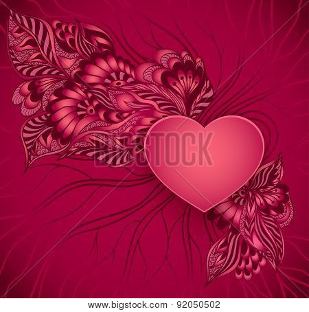 Heart  frame  with doodle flowers in red