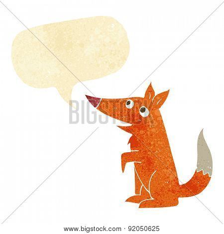 cartoon fox cub with speech bubble