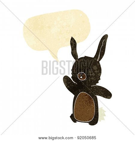 cartoon happy rabbit with speech bubble