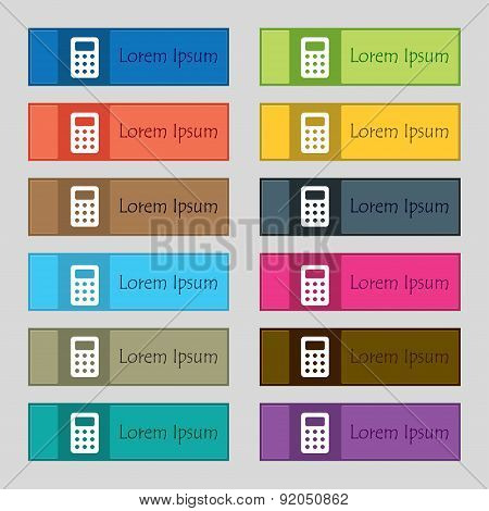 Calculator, Bookkeeping Icon Sign. Set Of Twelve Rectangular, Colorful, Beautiful, High-quality Butt
