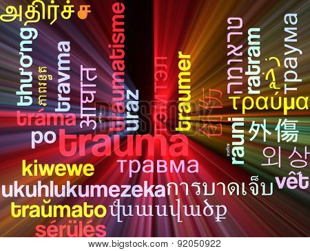 Background concept wordcloud multilanguage international many language illustration of trauma glowing light