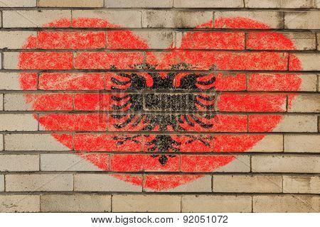 Heart Shape Flag Of Albania On Brick Wall