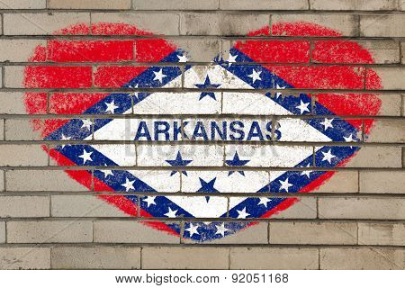 Heart Shape Flag Of Arkansas On Brick Wall