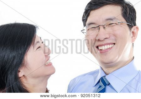 Portrait of middle woman couple portrait against white background