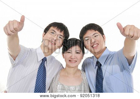 Studio Portrait Of Chinese smile family