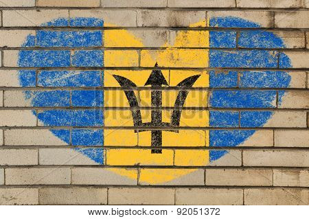 Heart Shape Flag Of Barbados On Brick Wall