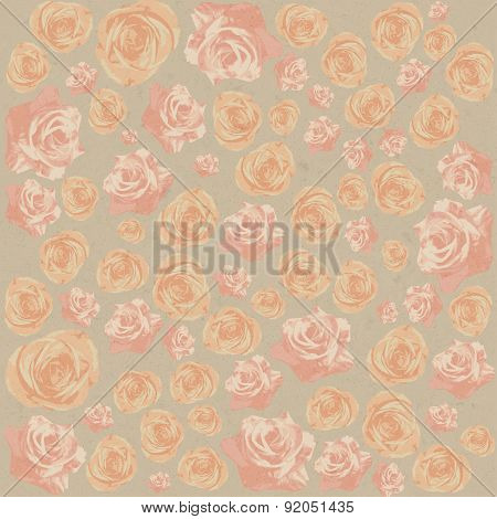 Drawn grunge pink flowers over canvas texture. Vector illustration