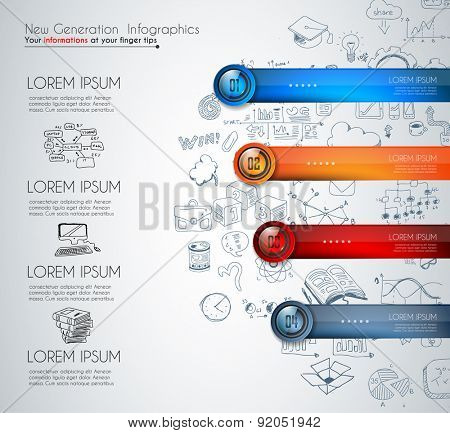 Infographic template for modern data visualization and ranking. Clean Glass Effect numbered buttons with space for text and a hand drawn doodles sketch background with marketing design elements.