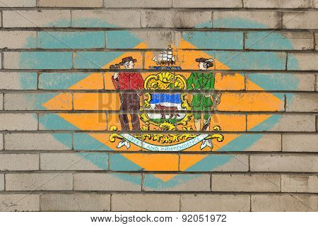 Heart Shape Flag Of Delaware On Brick Wall