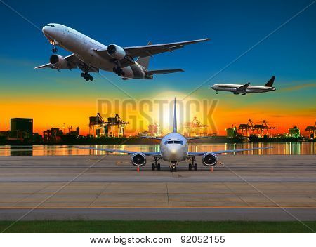 Cargo Plane Flying Over Airport Against Beautiful Morning Light In Ship Yard Use For Transportation