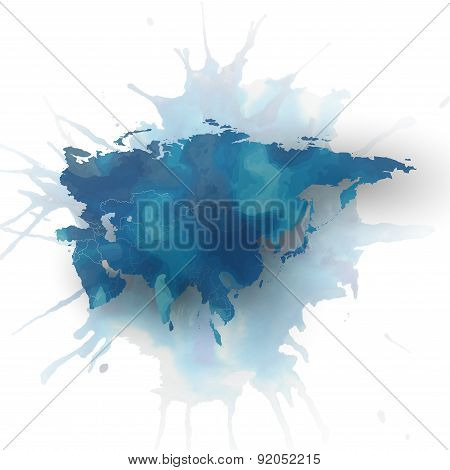 Eurasia map element, abstract hand drawn watercolor background, great composition for your design, v