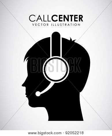 Call center design over gray background vector illustration