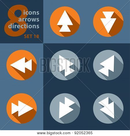 Set Of Eight Icons With Arrows