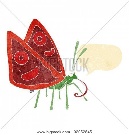 cartoon funny butterfly with speech bubble