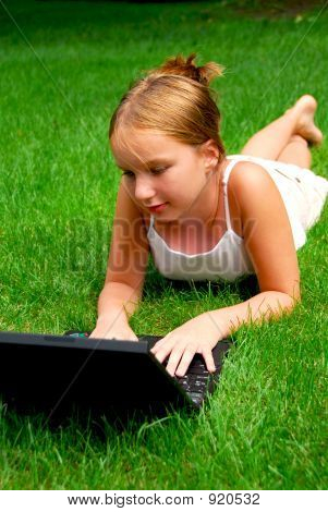 Girl Computer Grass