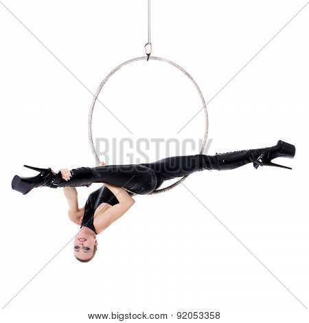 Sexy Woman Performance In Latex Catsuit On Aerial Hoop