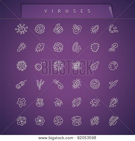 Viruses Thin Icons Set