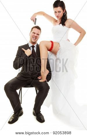 Married Couple Bride With Pistol.