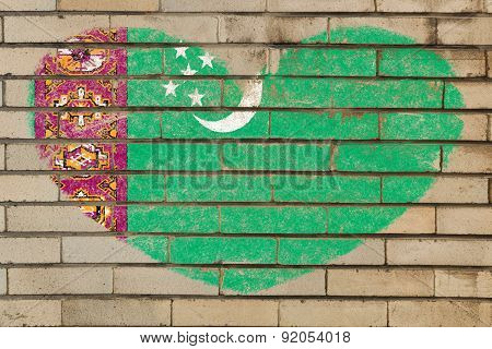 Heart Shape Flag Of Turkmenistan On Brick Wall