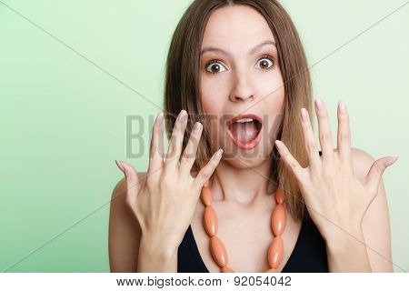 Surprised Shocked Woman Face With Open Mouth